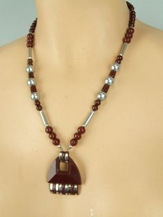Modernist Glass Necklace by Bengel  Made in the early 1930's by the Jakob Bengel…