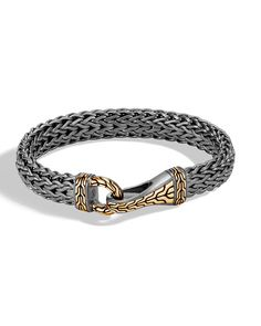 John Hardy Men's Classic Chain Silver Hook Bracelet with Black Rhodium & Gold Mens Diamond Stud Earrings, Wing Earrings, Hook Bracelet, Gold Chains For Men, Copper Jewelry, Men's Jewelry, Jewlery, Christian Jewelry, John Hardy