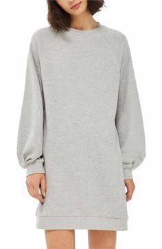 Main Image - Topshop Balloon Sleeve Sweatshirt Dress