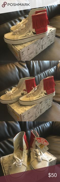 Vans SK8-Hi Moc Peanuts Women US 9.5 Men US 8.0 Hi-top white canvas, white suede with red suede moccasin top. Extra stylish and super comfy! Vans Shoes Sneakers