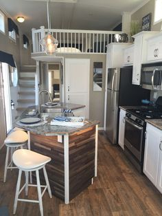 I like a island in a tiny house. It opens up the kitchen Kropf Island Cottage Park Model House Design, Tiny Spaces, Mini House, House Plans, House Interior, Sweet Home, Home Kitchens, Tiny House Kitchen, Small Living
