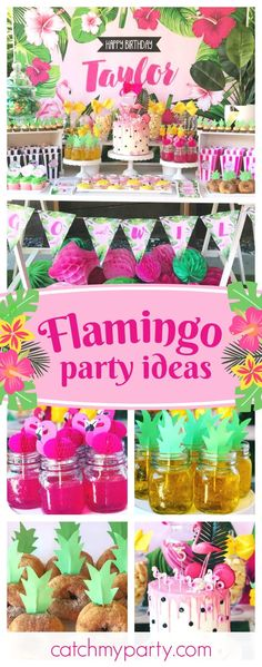 Don't miss this amazing summer tropical Flamingo birthday party! Love the birthday cake!! See more party ideas and share yours at CatchMyParty.com #birthdaycakes
