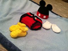 4 Piece Crochet Mickey Mouse Baby Photo Prop / by BuyBillerman, $60.00