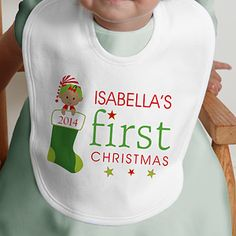 My first christmas bib my first thanksgiving bib by sweetteezllc first christmas character personalized bib 12395b negle Images