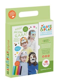 Perfect as a rainy day activity or for cafe play or when travelling...Hello Charlie - Tiger Tribe Make & Play Masks, $14.95 (http://www.hellocharlie.com.au/tiger-tribe-make-play-masks/)  #hellocharlie #giftideas
