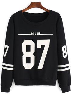 Round+Neck+Number+Print+Striped+Black+Sweatshirt+11.33