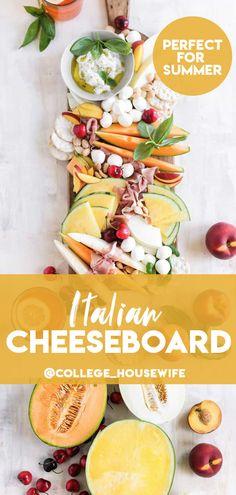 Italian Melon and Mozzarella Cheeseboard - College Housewife Burrata Mozzarella, Prosciutto, Summer Snacks, Summer Recipes, Summer Food, Appetizer Recipes, Appetizers, Smores Dessert, Naan Pizza