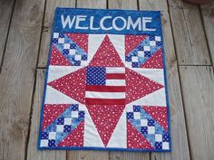 Patriotic Door Banner/Wall Hanging 18x23 by Covequilter on Etsy, $40.00