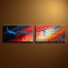Colorful Modern Abstract Painting Artist Oil Painting Stretched Ready To Hang Abstract. This 2 panels canvas wall art is hand painted by Bo Yi Art Studio, instock - $136. To see more, visit OilPaintingShops.com
