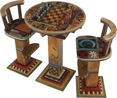 Fliptop Game Table w/ 2 Stools (STL012) and Standard Chess Set (GPC012)