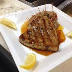 Photo recette : Espadon mariné au barbecue