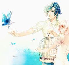 .Uta no Prince-sama Tokiya and Haruka with a bird.