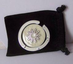 6821135a16a Western Off White Spurs Rowel Crystal Silver Tone Handbag Purse Hook Caddy  Holder