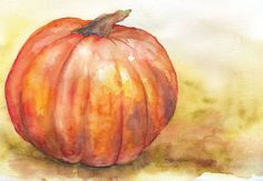 Fall Pumpkin Watercolor Print by SusanWindsor on Etsy