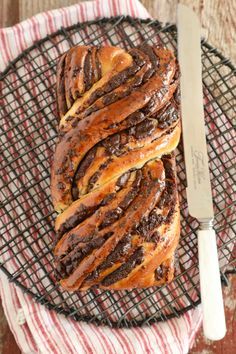 Chocolate Babka baked and ready to slice. Braided Nutella Bread, Bread Recipes, Baking Recipes, Babka Bread, Chocolate Babka, Chocolate Cinnamon Babka Recipe, Bigger Bolder Baking, Breakfast Recipes, Dessert Recipes