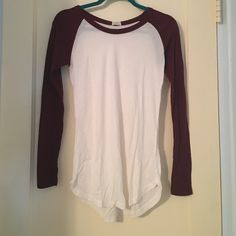 Brandy Melville long sleeve maroon and white top Brand new with tags Brandy Melville Tops Tees - Long Sleeve