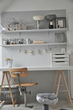 Home Office | Inspiration | Wood on light neutrals, plywood office chair, paper organizer, and shelving. | Mon Atelier
