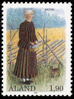 Finnish stamp / Åland stamp - National costume of Saltvik by Allan Palmer: