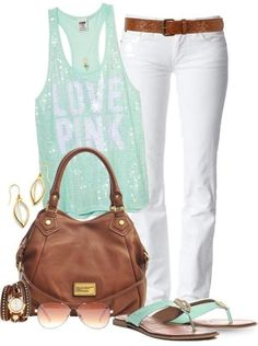 Denim In White With Racer Back Top And Accessories For Summer Outfits