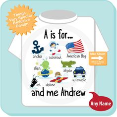 This cute little boy's tee or Onesie is perfect for the little boy whose name starts with the letter A. It has lots of cute things that start with A along with his name.