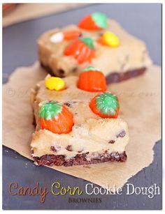 Candy Corn Cookie Dough Brownies via @Gina @ Kleinworth & Co.