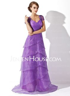Mother of the Bride Dresses - $109.99 - A-Line/Princess V-neck Floor-Length Organza  Charmeuse  Lace Mother of the Bride Dresses With Ruffle  Beading (008005749) http://jenjenhouse.com/A-line-Princess-V-neck-Floor-length-Organza--Charmeuse--Lace-Mother-Of-The-Bride-Dresses-With-Ruffle--Beading-008005749-g5749