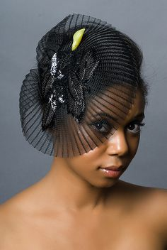 Black Demi Cloche Fascinator Hat