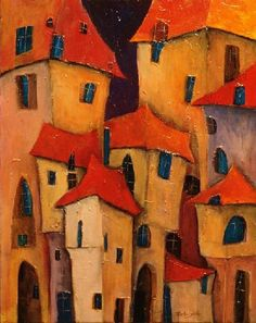 reminds me of a painting a friend did. :) years ago in Sarajevo! Best Abstract Paintings, Abstract Art, Naive Art, Whimsical Art, House Painting, Painting Inspiration, Home Art, Amazing Art, Watercolor Art