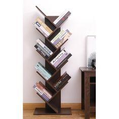 Latitude Run Ato Tree Magazine CD Geometric Bookcase Colour: Brown Cd Storage, Bookcase Storage, Bookshelf Design, Etagere Bookcase, Tree Bookcase, Bookcase White, Bookcases, Floating Desk, Neat And Tidy