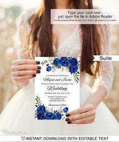 Royal Blue Wedding Invitation Blue Wedding Invitation