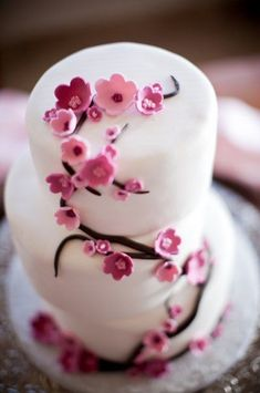 Cherry-Blossom #WeddingCake I Let Them Eat Cake, Inc I www.weddingwire.c...