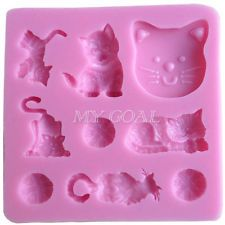 Cat Silicone Fondant Mould Cake Decorating Chocolate Mold Pan Bakeware Tool