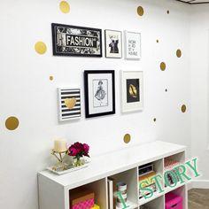 Горошек на стены стикер, Корки и палка металлическая золотой горошек декор стен купить на AliExpress