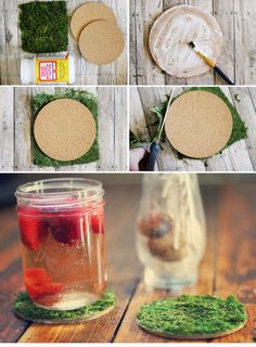 Put your sringtime cocktails on these adoooorable moss coasters. | 33 Irresistibly Spring DIYs