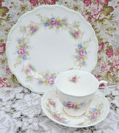 "Royal Albert Tea Trio ""Colleen"" Pattern- Tea Cup, Saucer, Tea Plate, Vintage English Floral, Gilt Bone China, Very Good Condition by ImagineHowCharming on Etsy"
