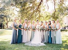 Blue and White Wedding Ideas - bridesmaids-in-blue