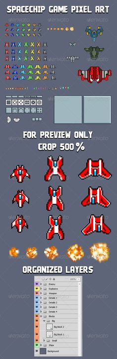 Spaceship game Pixel Art - GraphicRiver Item for Sale