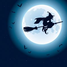 Find Witch Flying Over Moon stock images in HD and millions of other royalty-free stock photos, illustrations and vectors in the Shutterstock collection. Halloween Kunst, Photo Halloween, Happy Halloween, Halloween Pin Up, Halloween Artwork, Halloween Pictures, Holidays Halloween, Spooky Halloween, Witch Powers