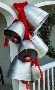 How to make GIANT silver bells for Christmas. #Christmasdecor #silverbells #diychristmas #christmasdecorating