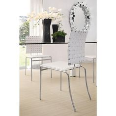 Zuo Criss Cross Dining Chair White - Set of 4 - With three height choices, the Criss Cross works in any décor setting, modern or transitional. It has leatherette back straps and a flat seat with a chrome steel tube frame. White Dinning Chairs, Modern Dining Chairs, Dining Chair Set, Dining Room Chairs, Side Chairs, Office Chairs, Accent Chairs, Ikea Dining, Lounge Chairs