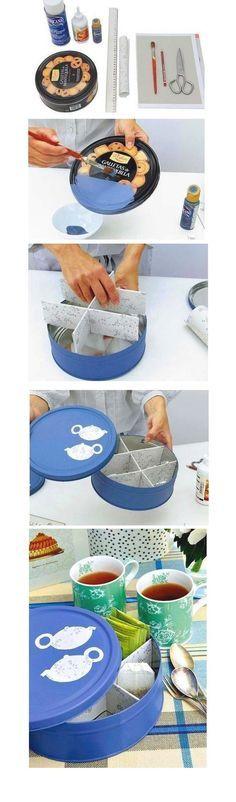 Lata de biscoitos, DIY chás