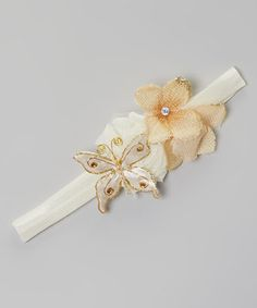 Loving this Ivory Shabby Flower Butterfly Headband on #zulily! #zulilyfinds