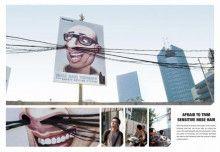 グラフィック アド/鼻毛カッターの屋外広告。電線を利用して、スゴいインパクト。どこで広告をやるかが、クリエイティブなんですね! カンヌ広告祭 グランプリでした。  PR EURO RSCG