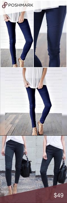 COMING SOON! Navy Moto Jeggings with Ankle Zipper Available to ship around 9/12/17. These amazing navy jeggings are textured as show. Will look amazing with the cowlneck sweater listed. WOW! Pants Leggings