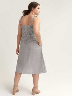 Shop online for Button-Front Sleeveless Dress - City Chic. Find Sale, and more at AdditionElle Addition Elle, City Chic, Passion For Fashion, Plus Size Dresses, Grey And White, Fit And Flare, Curvy, Button, Formal Dresses