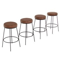 The Galli Leather Swiveling Bar Stools with Steel Frames | From a unique collection of antique and modern stools at https://www.1stdibs.com/furniture/seating/stools/