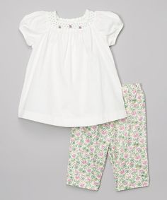 Loving this Off-White Smocked Swing Top & Floral Pants - Infant & Toddler on #zulily! #zulilyfinds