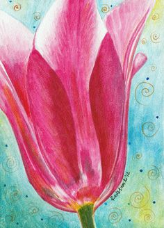 """Hot Pink Tulip - Watercolor on ampersand aquabord, using Daniel Smith watercolors.  5 x 7"""". By Redstreake."""