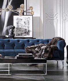 WEBSTA @ design_iii - Blue velvet inspiration #restorationhardware #bluevelvet #sofa #interiordesign #interiors #design #living #pinterest