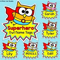 Superhero Theme Owl Labels and Name Tags: Your classroom door, bulletin boards and lockers will be the talk of the school when you use these fun superhero owls name tags and labels to decorate! This set is so versatile because you can make any labels that you want with the included blank labels and editable PowerPoint file.